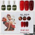 สีเจลทาเล็บ OU PIN ชุด3สี ชื่อโทนสี BOHR RED พร้อมกรอบรูป เนื้อสีดี เข้มข้น คุณภาพเหนือราคา