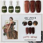 สีเจลทาเล็บ OU PIN ชุด3สี ชื่อโทนสี LATTE BROWN พร้อมกรอบรูป เนื้อสีดี เข้มข้น คุณภาพเหนือราคา