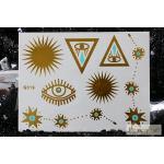 G-019 สติ๊กเกอร์ แทททู สีทอง Flash Tattoos sticker ลายตา