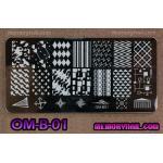 เพลทปั้มลายเล็บ รหัส OM-B-01
