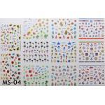 สติ๊กเกอร์ติดเล็บ แผ่นใหญ่ รหัส MS-04