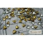 หมุดติดเล็บ รูปหัวใจ สีทอง 3มิล