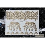 G-005 สติ๊กเกอร์ แทททู สีทอง Flash Tattoos sticker ลายช้าง เส้น