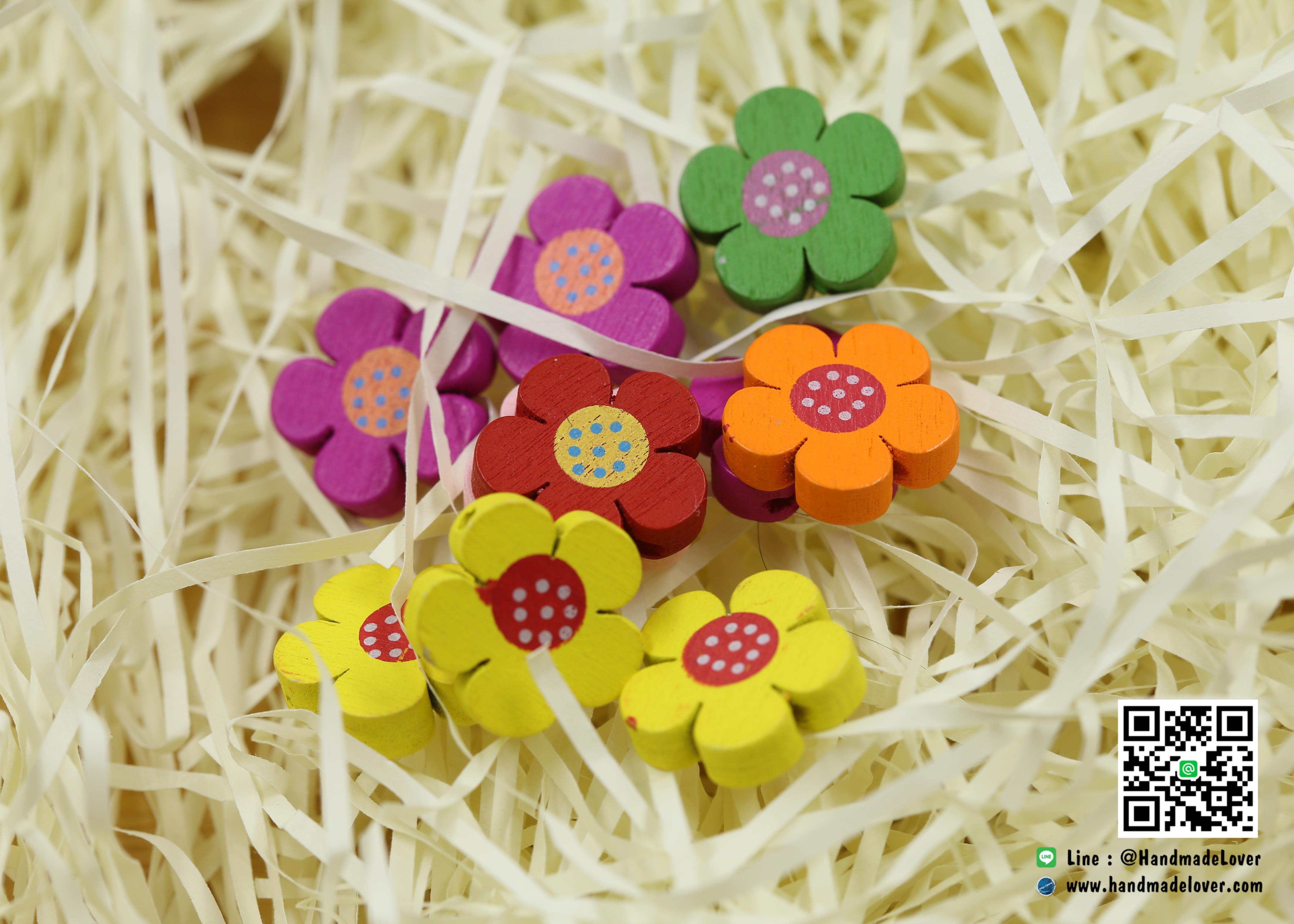 กระดุมไม้ ดอกไม้ คละสี [แพ็ค 10 ชิ้น]