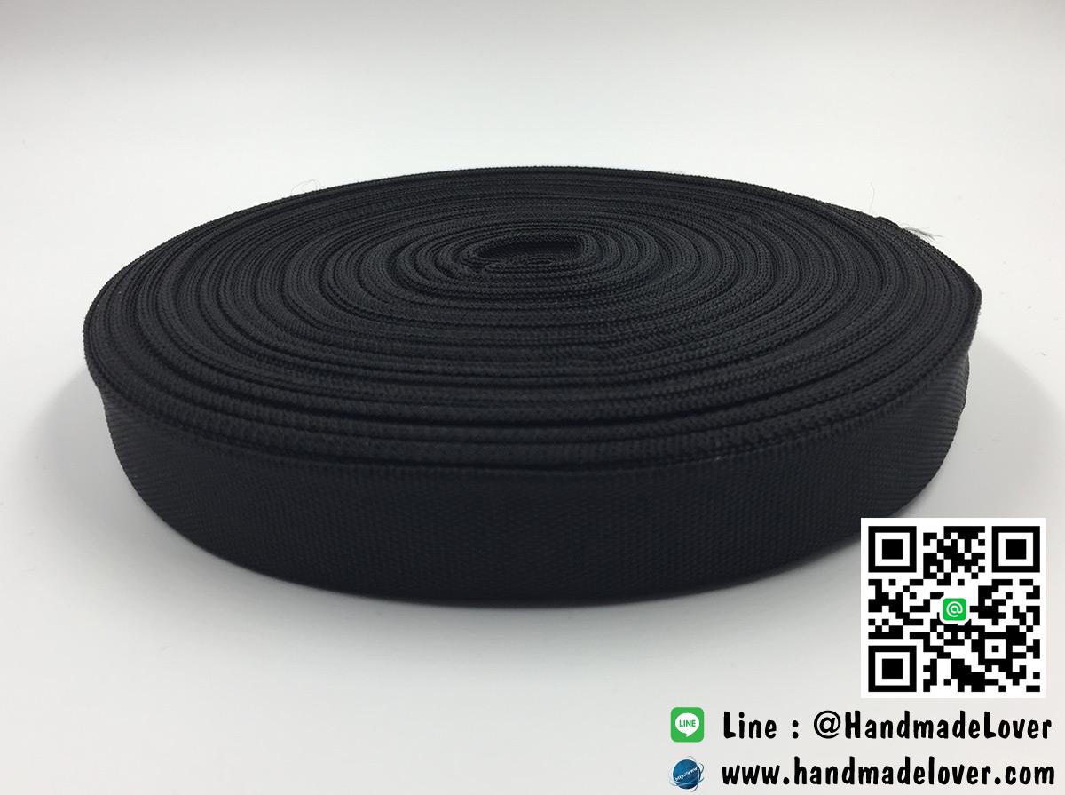 ริบบิ้นผ้าคอตตอน สีดำ ขนาด 22 มิล [ม้วน 50 หลา][สินค้าหมวดไว้ทุกข์]