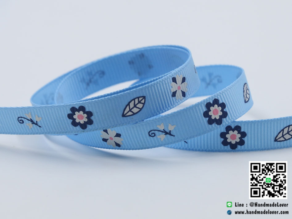 ริบบิ้นผ้า กรอสเกรน สีฟ้า พิมพ์ลายดอกไม้