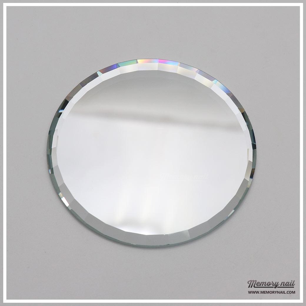 แผ่นที่วางโชว์ลายเล็บ PV-06 กระจกสีขาว เจียรขอบเหลี่ยม รัศมีขนาด 7 เซนติเมตร