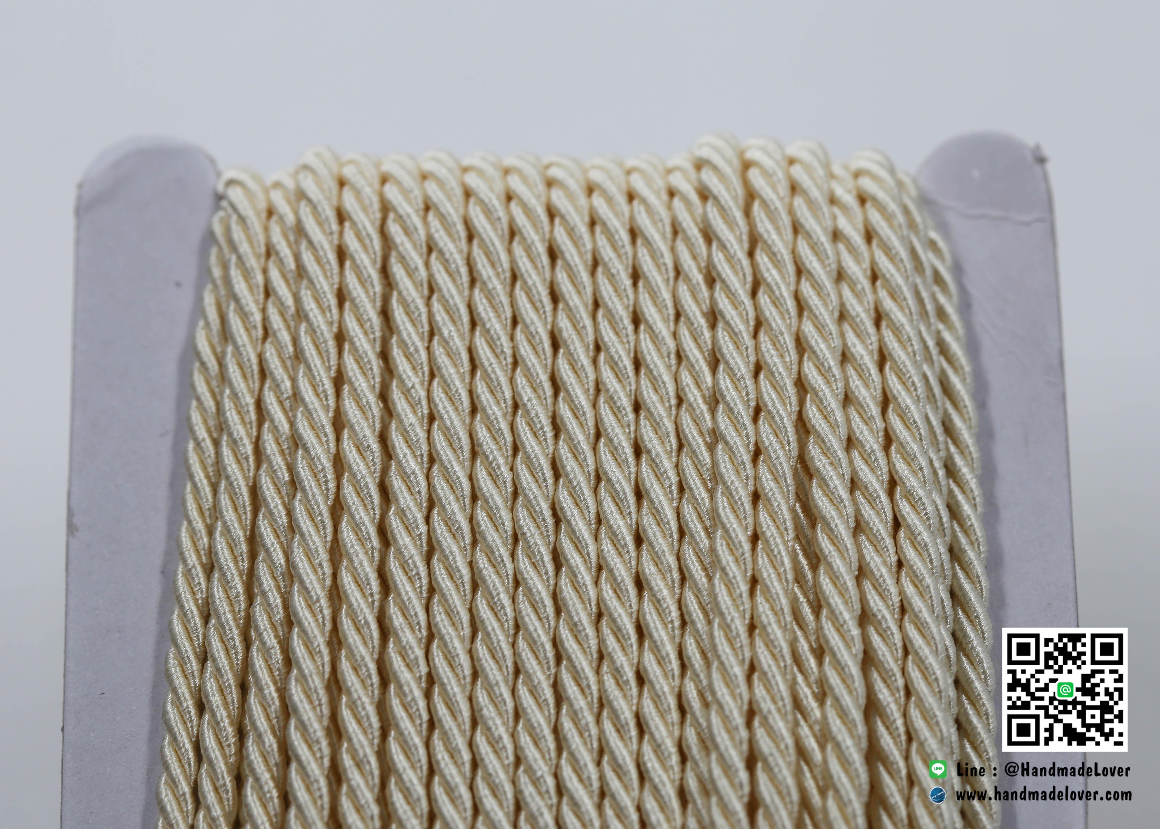เชือกเกลียว สีครีม [39] ขนาด 3 mm.