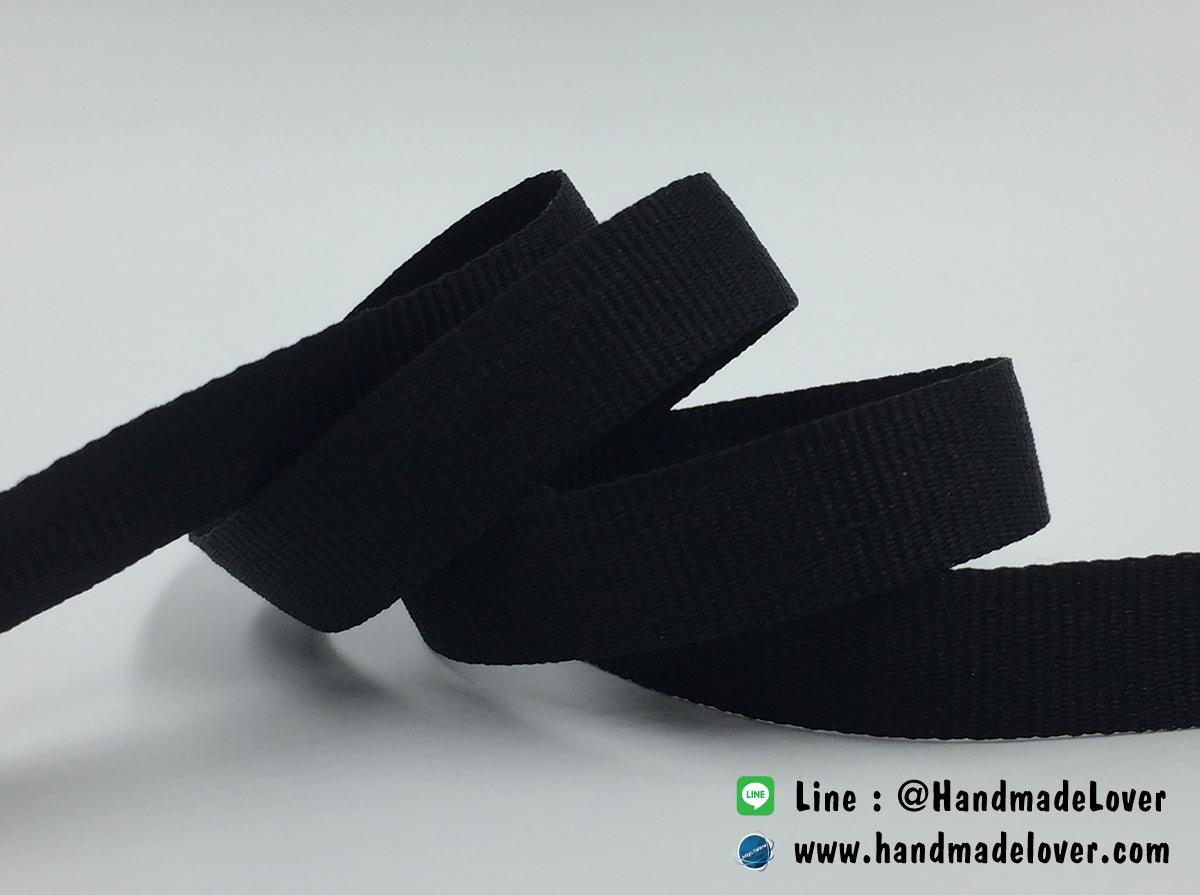 ริบบิ้นผ้าคอตตอน สีดำ ขนาด 10 มิล [ม้วน 50 หลา][สินค้าหมวดไว้ทุกข์]