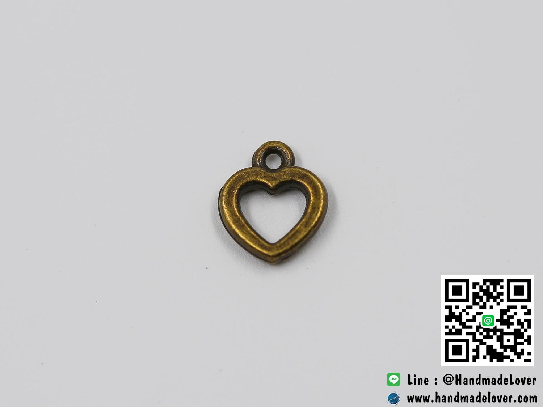 จี้โลหะ,ตัวห้อยซิป สีทองรมดำ รูปหัวใจ ขนาด 12 x 10 MM