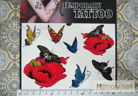 YM-K114 สติ๊กเกอร์สักแฟชั่น sticker tattoo ลายผีเสื้อ 15.5x10.8 cm