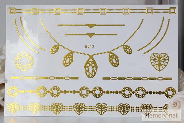 สติ๊กเกอร์แทททูทอง รหัส E-013  สติ๊กเกอร์แทททู เมทัลลิก เงิน ทอง  ลาย เส้น สร้อยคอ สร้อยข้อมือ