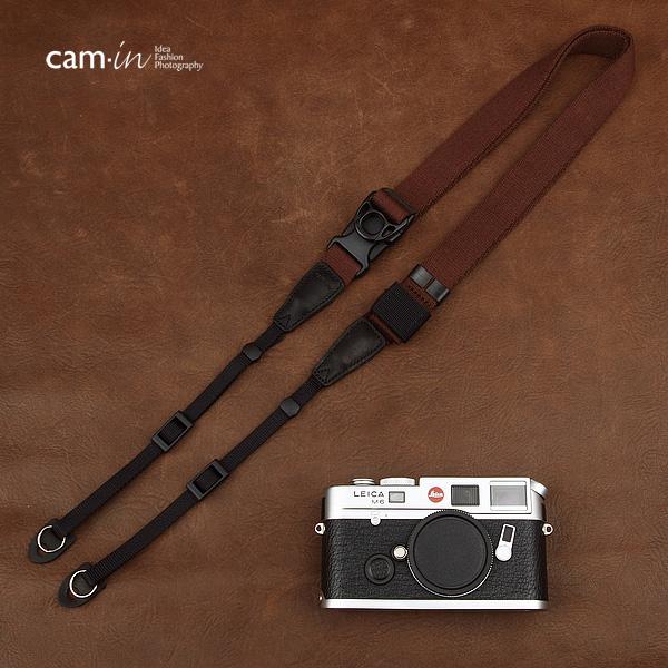 สายคล้องกล้องเส้นเล็กปรับสายสั้นยาวได้ Cam-in รุ่น Ninja สีน้ำตาล 25 mm