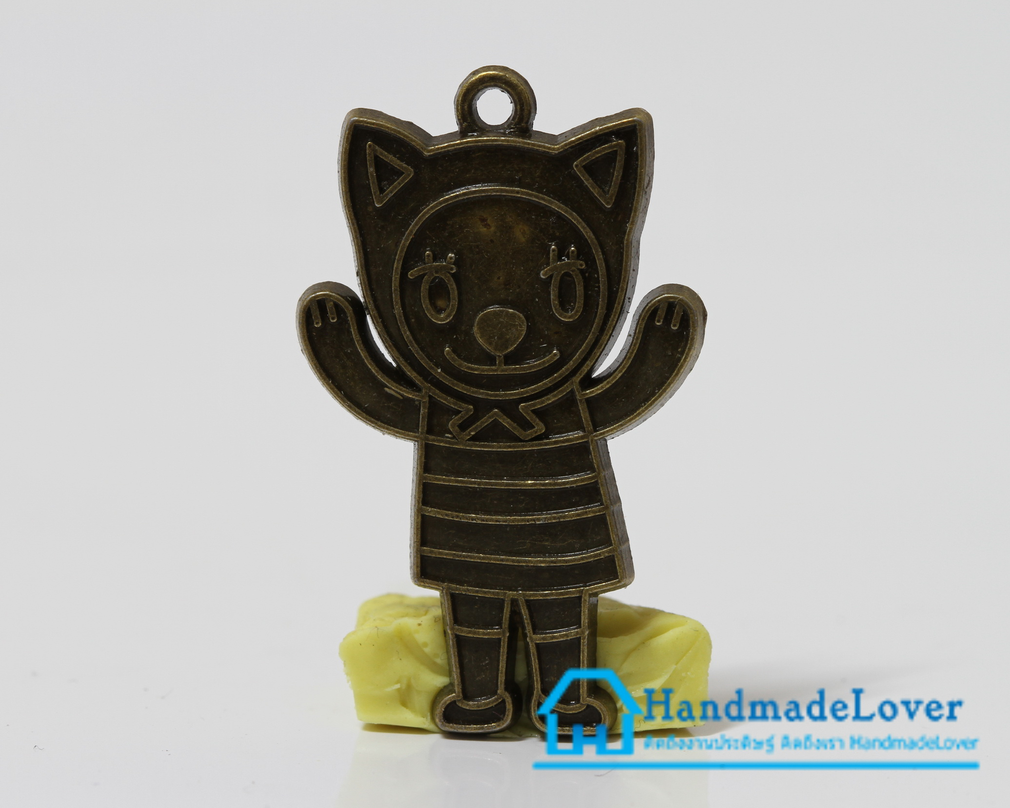 จี้,ตัวห้อยซิป โหละ สีทองรมดำ รูปตุ๊กตา แมว