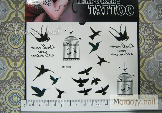 YM-K123 สติ๊กเกอร์สักแฟชั่น sticker tattoo ลายนก 15.5x10.8 cm