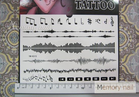 YM-K015 สติ๊กเกอร์สักแฟชั่น sticker tattoo ลายตัวโน๊ต 15.5x10.8 cm
