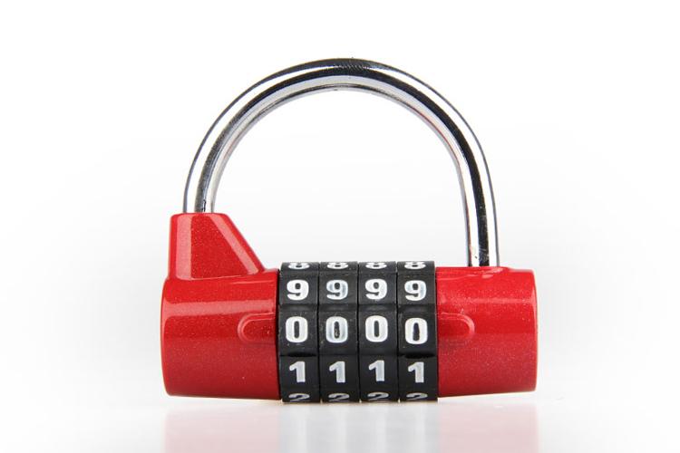 กุญแจรหัส 4 หลัก ทรงโค้ง (หนา 5mm)