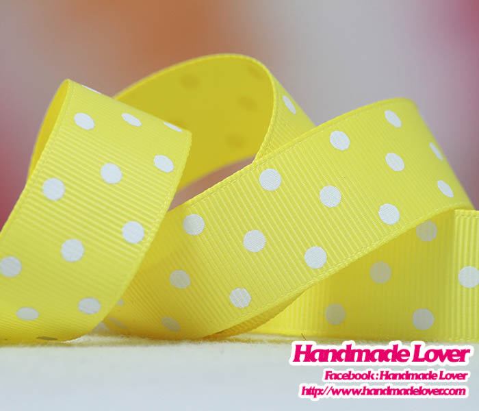 ริบบิ้นผ้า กรอสเกรน สีเหลือง พิมพ์ลายจุด 22 mm.