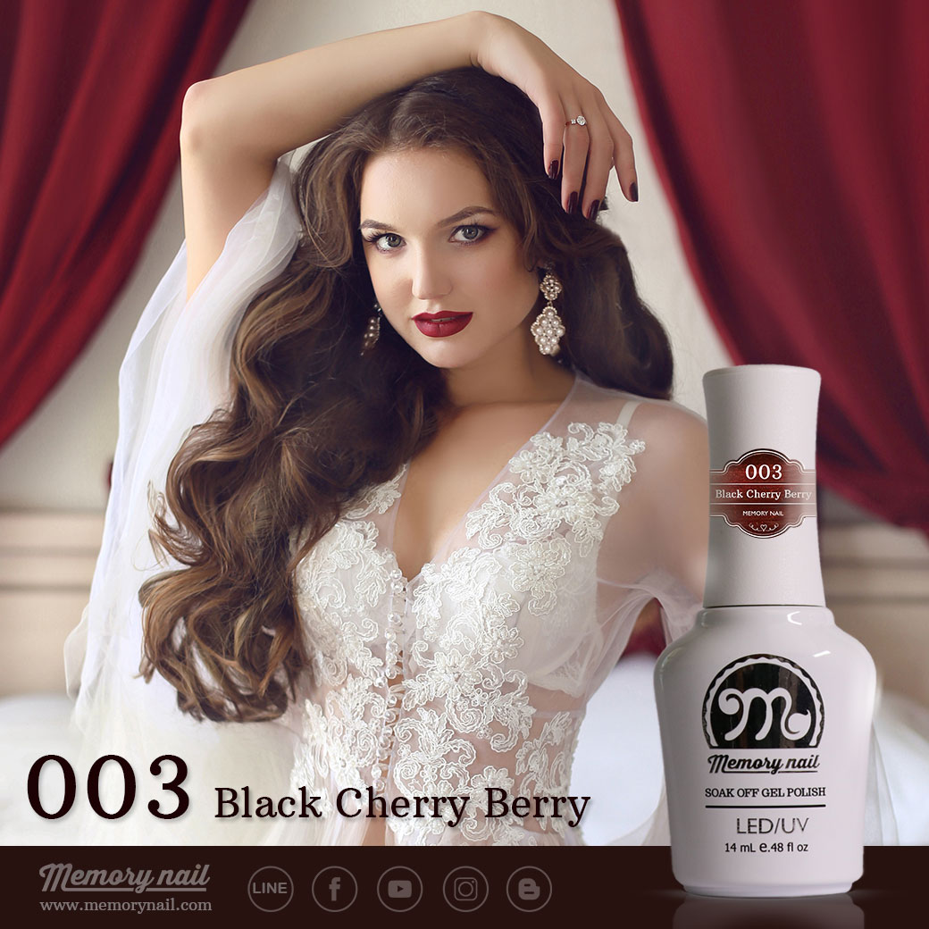 สีเจลทาเล็บ Memory nail รหัส 003 Black Cherry Berry สีแดงมะเหมี่ยวผสมมมุขเล็กน้อย