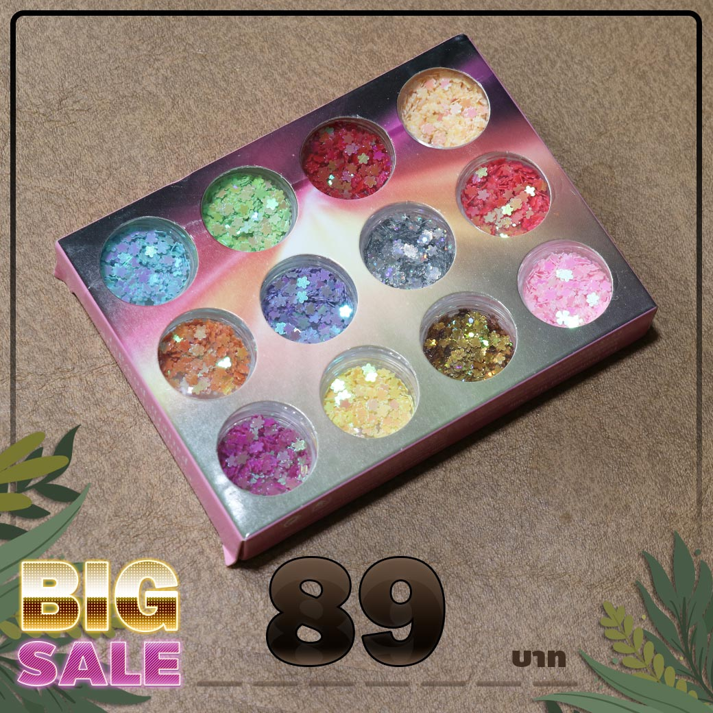 กากเพชร รูปดอกไม้ 12 สี ใน1กล่อง