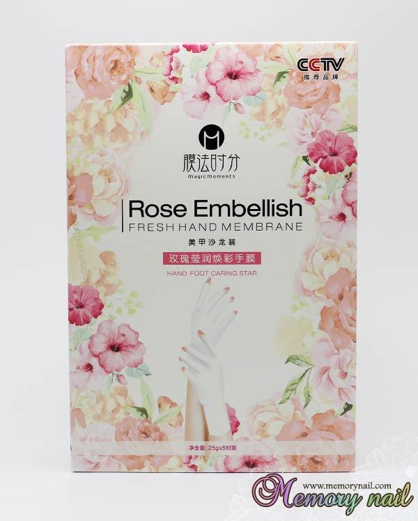 ถุงมือพร้อมครีมบำรุง กลิ่นกุหลาบ Rose Embellish Fresh Hand Membrane กล่องละ5คู่