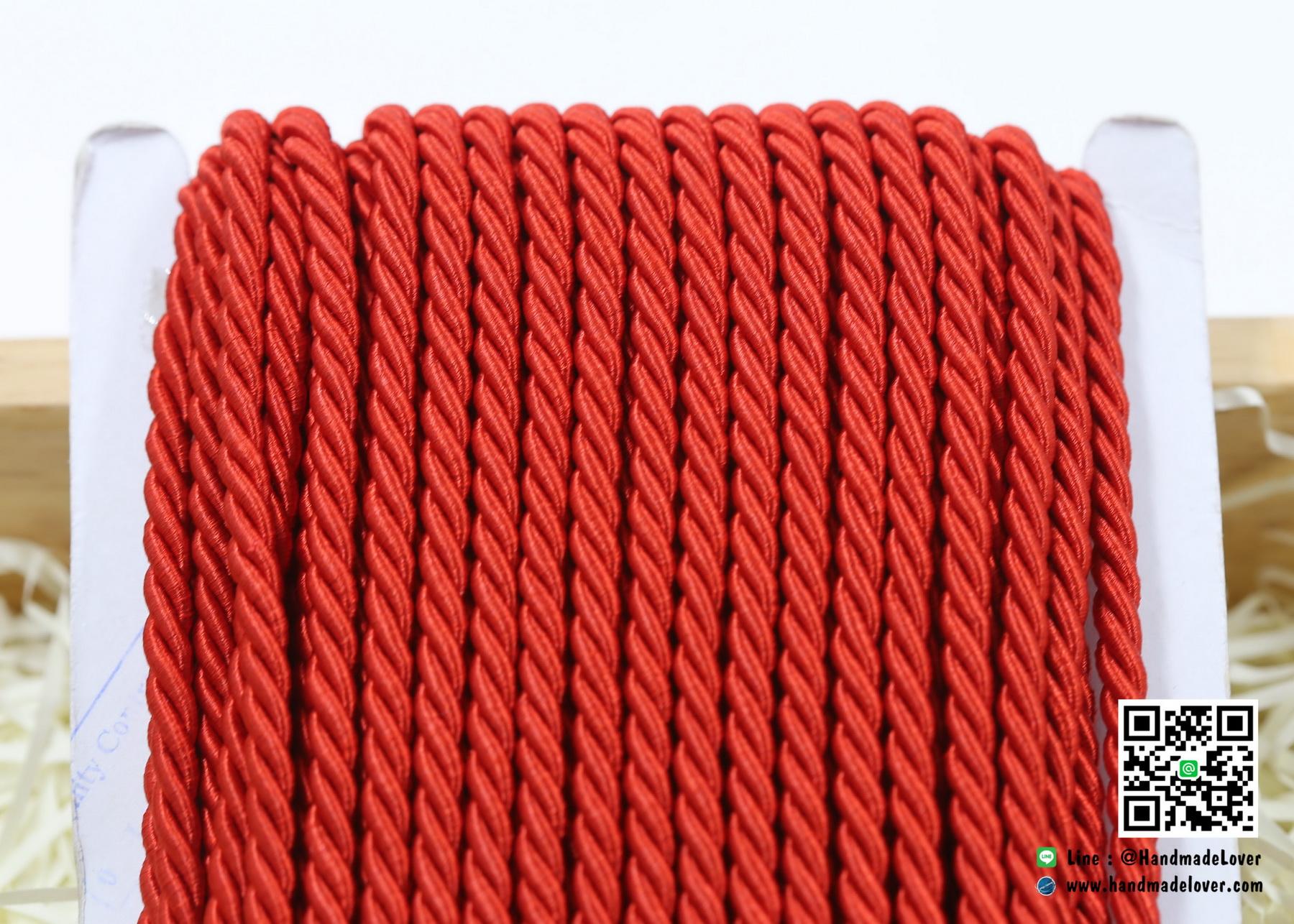 เชือกพันเกลียว สีแดง [10] ขนาด 5 mm.
