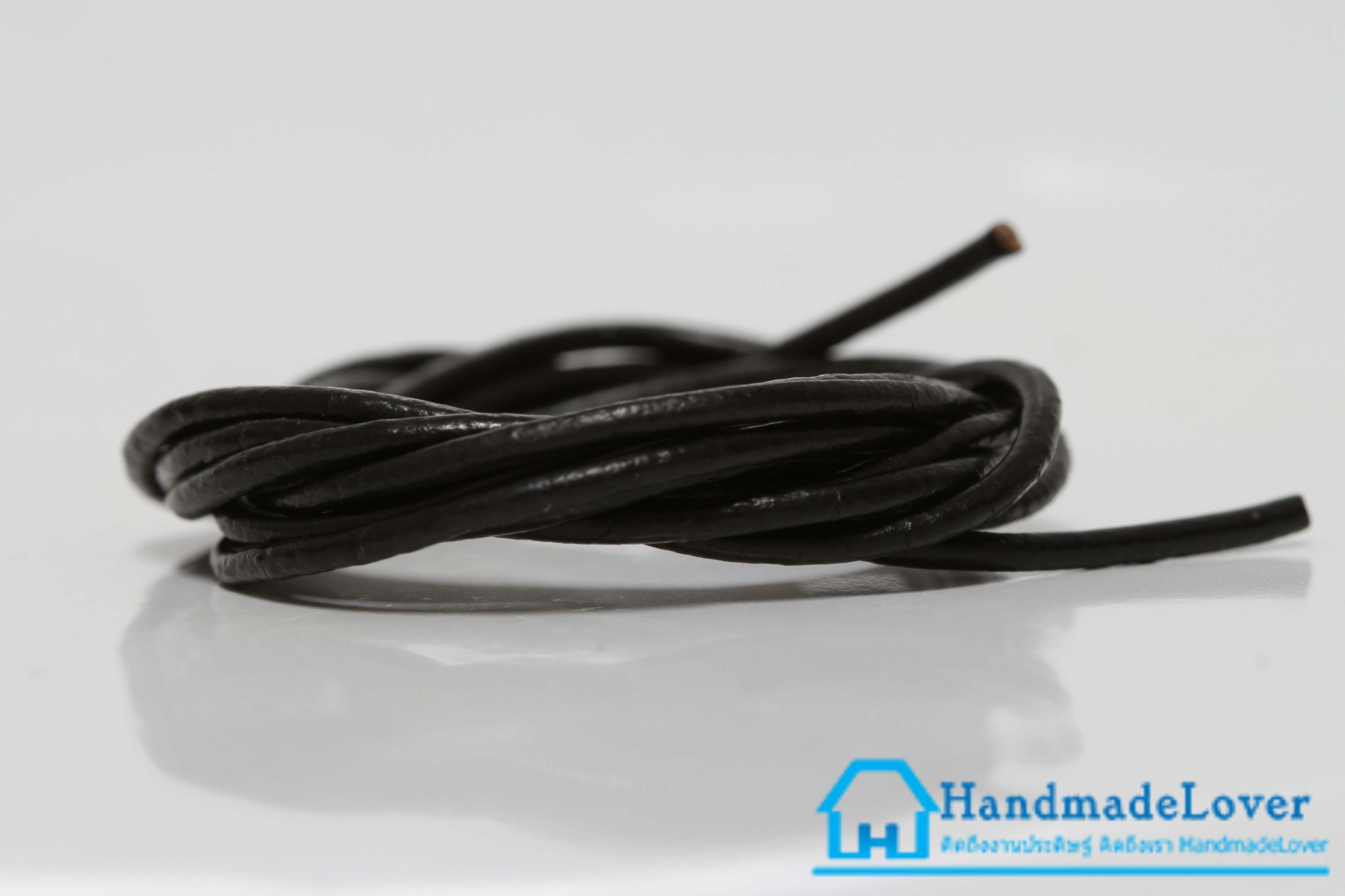 เชือกหนังกลม ผิวมัน สีดำ ขนาด กว้าง 1.5 mm.