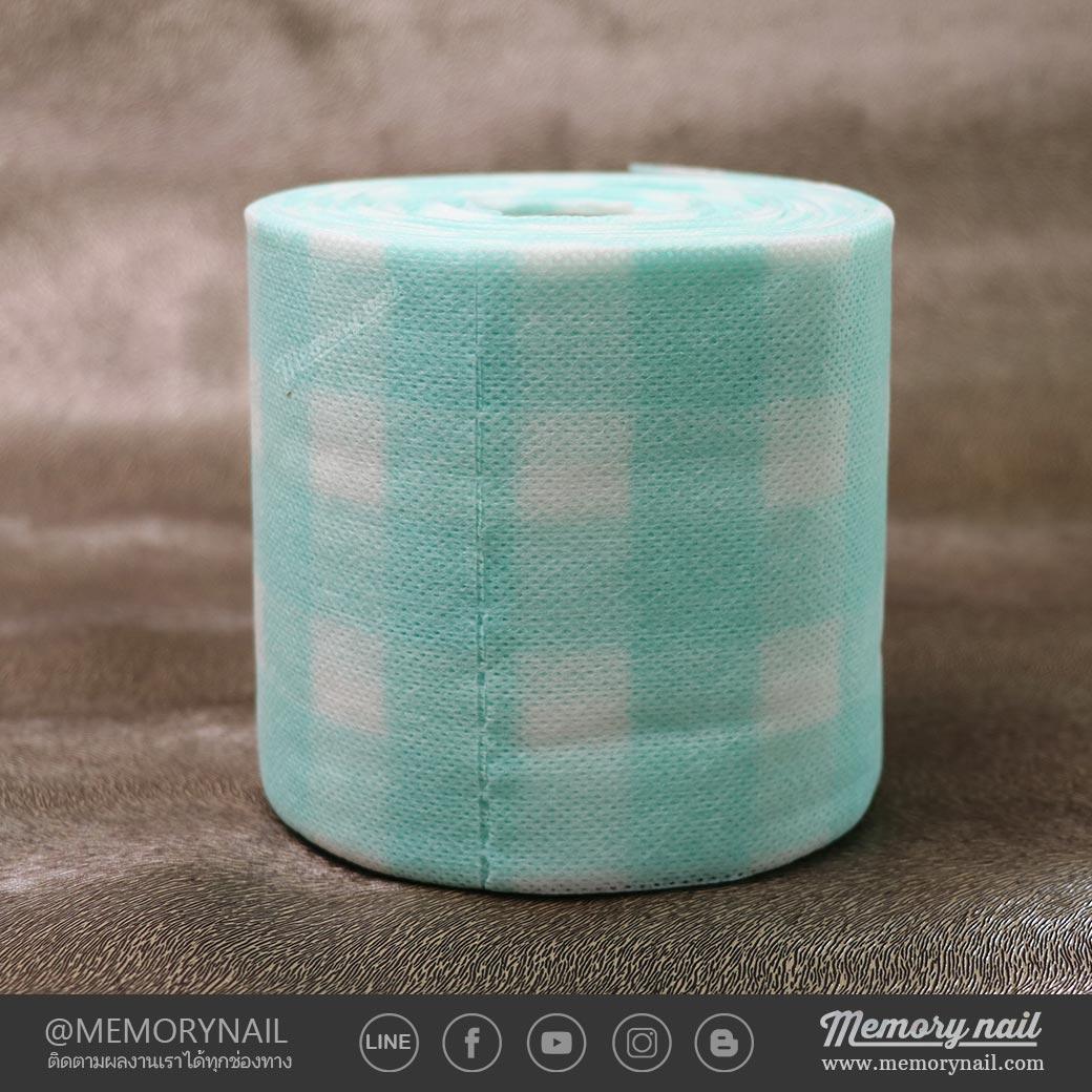 กระดาษกึ่งผ้า สีฟ้าอมเขียว ใช้เช็ดพู่กัน เช็ดอุปกรณ์ทำเล็บ