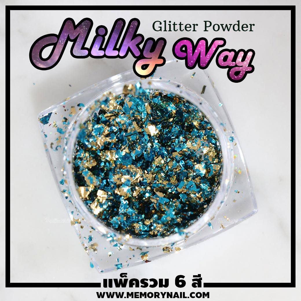 ผงแต่งเล็บ,กากเพชรติดเล็บ,ของติดเล็บ,ผงกริตเตอร์,กริทเตอร์ติดเล็บ,ผงเกร็ดทางช้างเผือก,Milky Way glitter powder,Milky Way powder,Milky Way glitter,ผง Milky Way,ผงมิวกี้เวย์