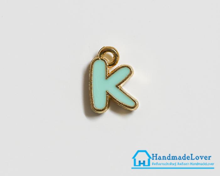 """จี้ ตัวอักษร เคลือบสีมินท์ รูป ตัว """"K"""""""