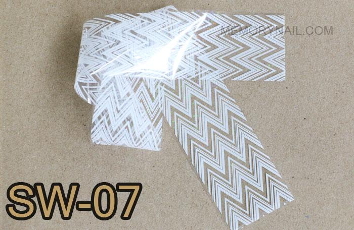 ฟอยล์ติดเล็บ ลายสีขาวพื้นใส รหัส SW Nails foils เลือกสีด้านใน ขนาด 4X40 เซน