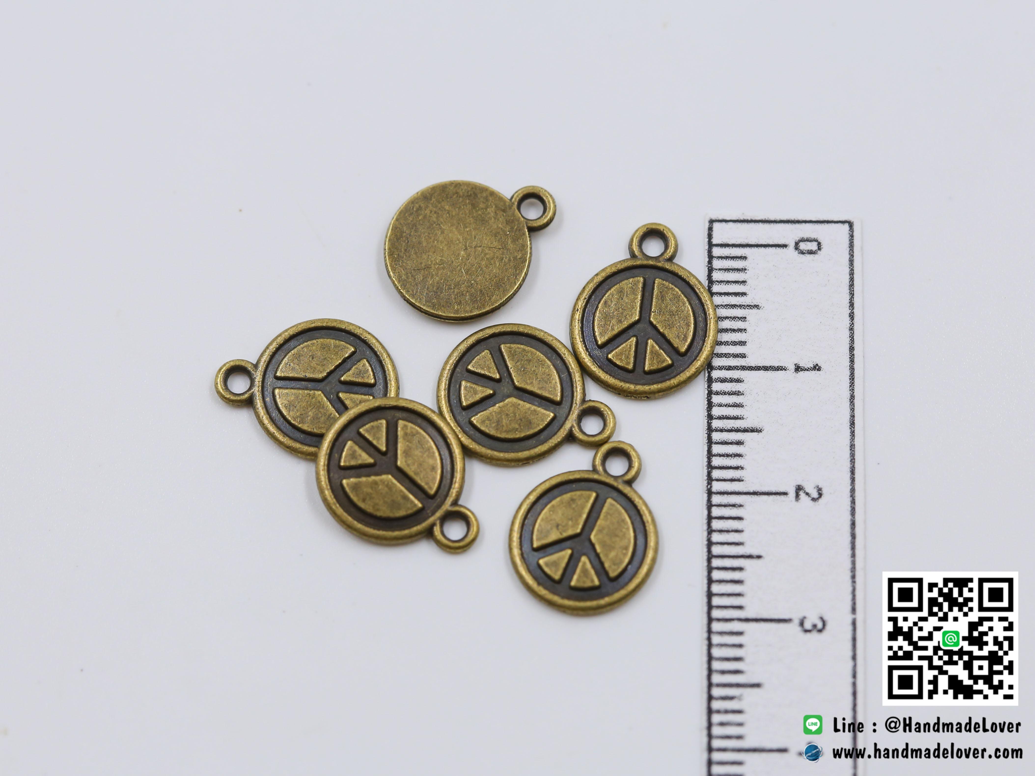 จี้โลหะ สีทองรมดำ รูปเหรียญ พีช