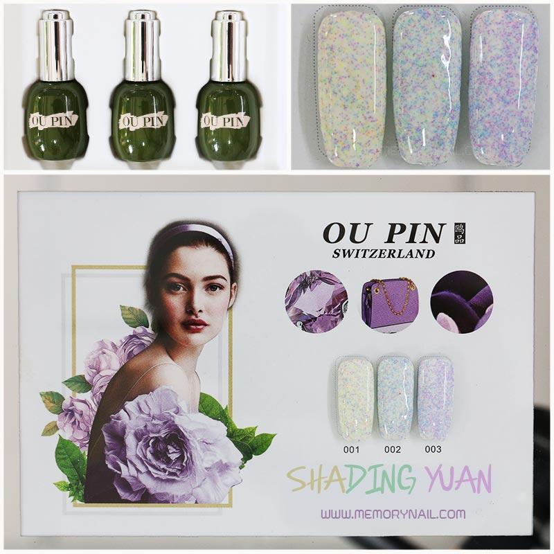 สีเจลทาเล็บ OU PIN ชุด3สี ชื่อโทนสี SHADING YUAN พร้อมกรอบรูป เนื้อสีดี เข้มข้น คุณภาพเหนือราคา