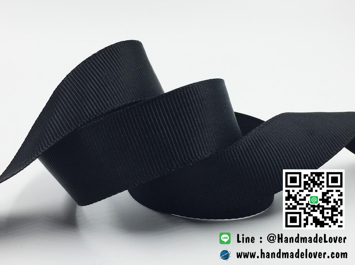 ริบบิ้นผ้า กรอสเกรน สีดำ ขนาด 13 มิล [สินค้าหมวดไว้ทุกข์]
