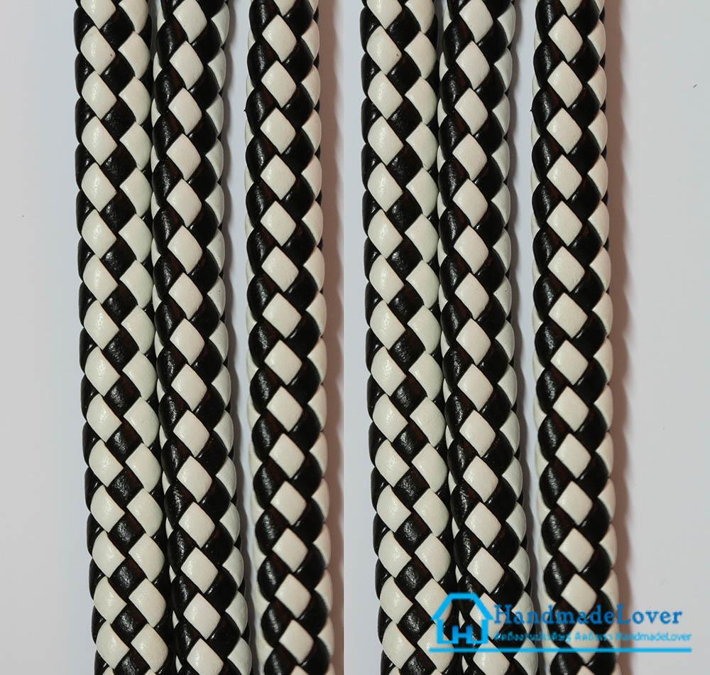 เชือกพีวีซี PVC ถัก สีขาว-ดำ ขนาด 10 mm.
