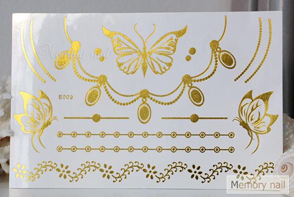 สติ๊กเกอร์แทททูทอง รหัส E-009  สติ๊กเกอร์แทททู เมทัลลิก เงิน ทอง  ลาย เส้น สร้อยคอ สร้อยข้อมือ ผีเสื้อ