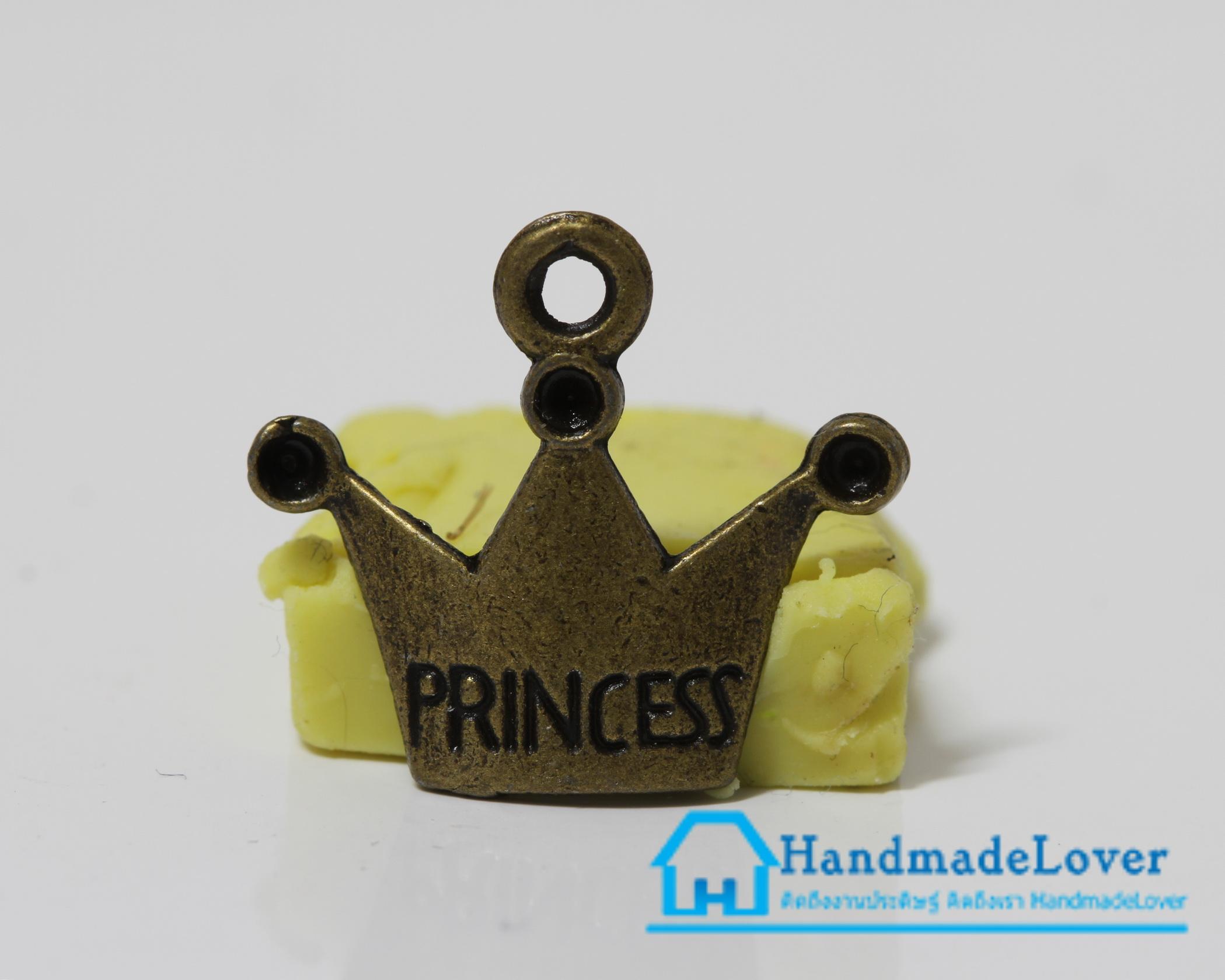 จี้,ตัวห้อยซิป สีทองรมดำ รูปมงกุฎ Princess