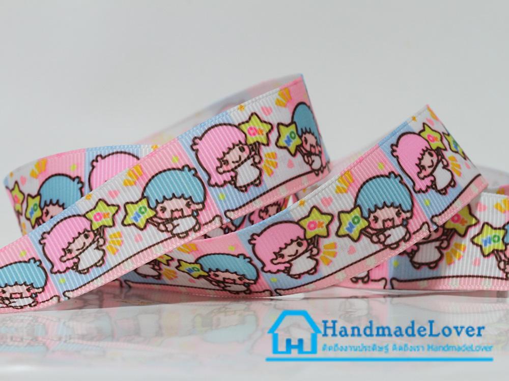 ริบบิ้นผ้า พิมพิ์ลายการ์ตูน กิกิ ลาล่า (Kiki & Lala) สีชมพู ขนาด 22 มิล