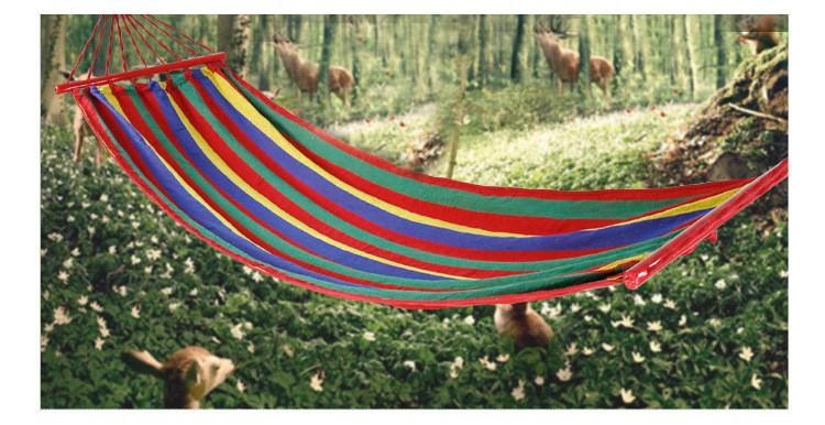 เปลญวน ผ้าสลับสี ขอบไม้ 200CM*80CM