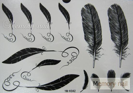 YM-K042 สติ๊กเกอร์สักแฟชั่น sticker tattoo ลายขนนก 15.5x10.8 cm