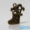 จี้วินเทจโลหะ สีทองรมดำ รูปถุงเท้าซานต้า