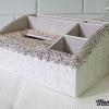 กล่องใส่ทิชชู่เพชร มีช่องใส่ของด้านข้าง สีชมพูและสีขาวผสมสีรุ้ง กว้าง18 ยาว28 สูง14 เซนติเมตร