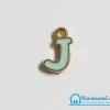 """จี้ ตัวอักษร เคลือบสีมินท์ รูป ตัว """"J"""""""
