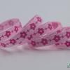 ริบบิ้นผ้า กรอสเกรน สีชมพู พิมพ์ลายดอกไม้ ขนาด 9 มิล
