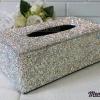 กล่องใส่ทิชชู่เพชร สีขาวผสมสีรุ้ง กว้าง15 ยาว26 สูง10 เซนติเมตร