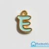"""จี้ ตัวอักษร เคลือบสีมินท์ รูป ตัว """"E"""""""
