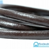 เชือกหนังกลม ผิวมัน สีน้ำตาลไหม้ ขนาด กว้าง 6 mm.