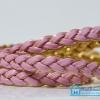 เชือกพีวีซี PVC ถัก สีชมพูขอบทอง