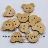กระดุมไม้ รูปหมี Taddy Bear [แพ็ค 10 เม็ด]