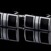 I601 CUFF LINKS สี่เหลี่ยมดำซ้ายขวาขอบเงิน กลางเงิน